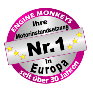 Nr.1 Button Motorinstandsetzung pink Engine Monkeys